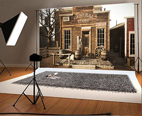 Laeacco 7x5FT Vinyl Photography Background Old Western Town Rustic General Store Front Door Wood House Post Office Feed Sign Round Barrel Countryside House Door Studio Photo Backdrop - Store Countryside