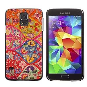 FECELL CITY // Duro Aluminio Pegatina PC Caso decorativo Funda Carcasa de Protección para Samsung Galaxy S5 SM-G900 // Floral Pattern Art Ogee Red Colorful
