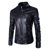 Benibos Men's Casual Slim Motorcycle Zipper Faux Leather Jacket