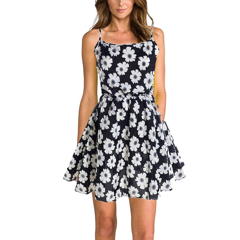 7478ee32a5c27c high-quality ROPALIA Women s Chiffon Sleeveless Floral Beach Mini Dress.  high-quality Comical Shirt ...