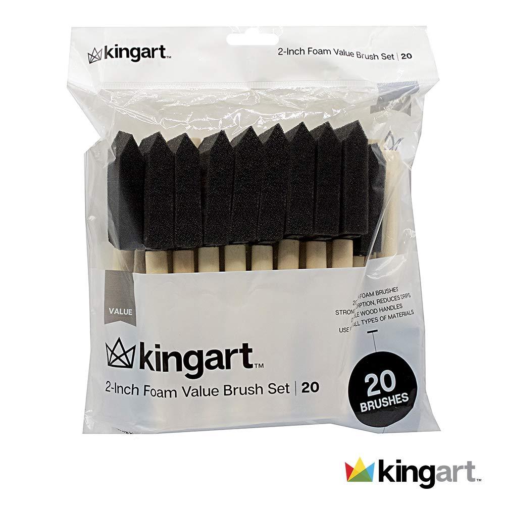 KINGART 1' Foam Brush Value Pack - Set Of 25