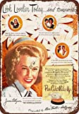 1946 June Allyson for Pan-Cake Makeup Vintage Look Reproduction Metal Tin Sign 12X18 Inches