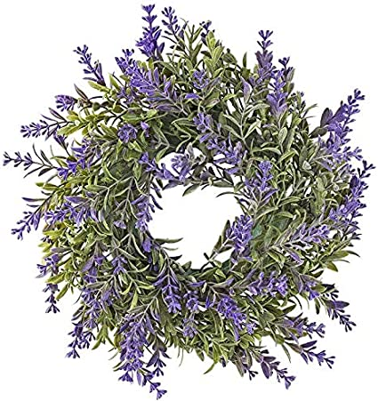 Corona decorativa, diseño 5, interior: Ø 9,5 cm, exterior: Ø 29,5 cm, con flores violetas