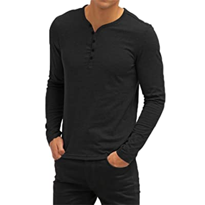 Aiyino Men's Casual V-Neck Button Cuffs Cardigan Long Sleeve T-Shirts | Amazon.com