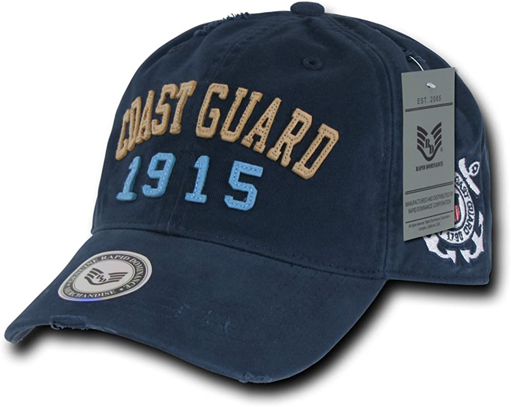 Rapiddominance Coast Guard Vintage Athletic Cap, Navy : Camouflage Hunting Apparel : Clothing
