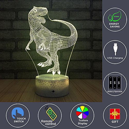 FlyonSea Night Lights Kids Bedside Lamp 7 Colors Change Remote Control Timer Kids Night Light optical illusion Lamps Kids Lamp As a Gift Ideas Boys Girls (Dinosaur) by FlyonSea (Image #2)