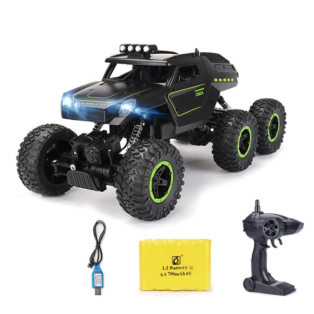RC-Auto, drahtlose Fernbedienung RC-Spielzeugauto, 6-Rad-Antrieb, Jeep, super große Fernbedienung für Geländewagen, , Geburtstagsgeschenk für Kinder und Erwachsene (2 wiederaufladbare Batterien enthal Grün