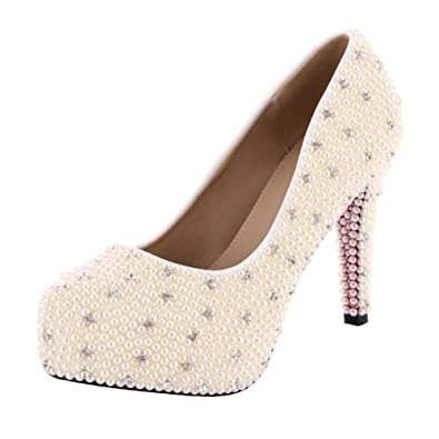 c9bad259261683 VELCANS Ivory Womens High Heels Pearl Designer Special Occasion  Wedding
