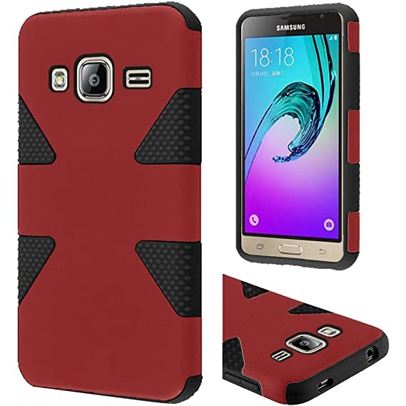 lowest price b6a95 64660 Samsung Galaxy J3,Galaxy amp Prime Case, Bastex Dynamic Slim Fit Heavy Duty  Protection Hybrid Dual Layer Hard Plastic Case Rubber Silicone Cover - Red  ...
