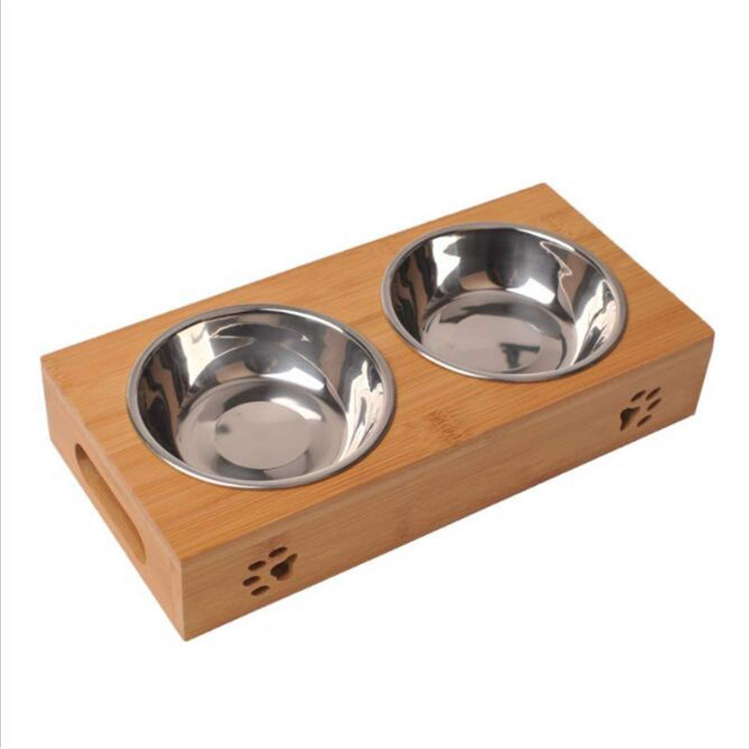 Dog Bowls,Solid Wood Material,Double Stainless Steel Bowls Removable Dog Cat Food Water Bowl,Environment Friendly