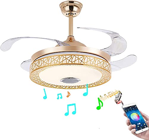 Healer 42 Inch Retractable Ceiling Fan with Light and Remote Control, Modern Bluetooth Music Invisible Chandelier Fans with 3 Lights Level and 3 Speed for Bedroom Dining Living Room