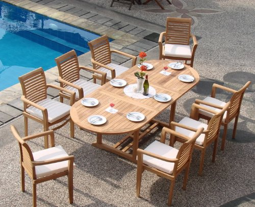 "WholesaleTeak New 7 Pc Luxurious Grade-A Teak Dining Set - 94"" Mas Oval Table (Trestle Leg) and 6 Mas Stacking Arm Chairs #WHDSMSa - You can lengthen the table with minimal effort by simply opening the butterfly leaf extensions. Picture shown with 8 chairs, you will receive only 6 chairs. Fully Assembled,Stackable chairs for easy storage. ADD SUNBRELLA FABRIC CUSHIONS BY SEARCHING ASIN ""B01I4CC166"" or ""Wholesaleteak Dining Cushion"" ON AMAZON, CUSTOM MADE FOR THESE STYLE CHAIRS - patio-furniture, dining-sets-patio-funiture, patio - 61GDBFRtrCL -"