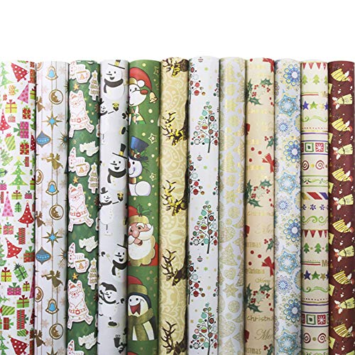 UNIQOOO Christmas Gift Wrapping Paper 24 Sheets Precut,12 Assorted Designs 2Each, Packed 3Rolls.Holiday Elements Washi Paper,Cut Size 27½ X17,Ttl.78 Sq Ft./Gold,Sliver Shine Finish,Present Wrap Pac