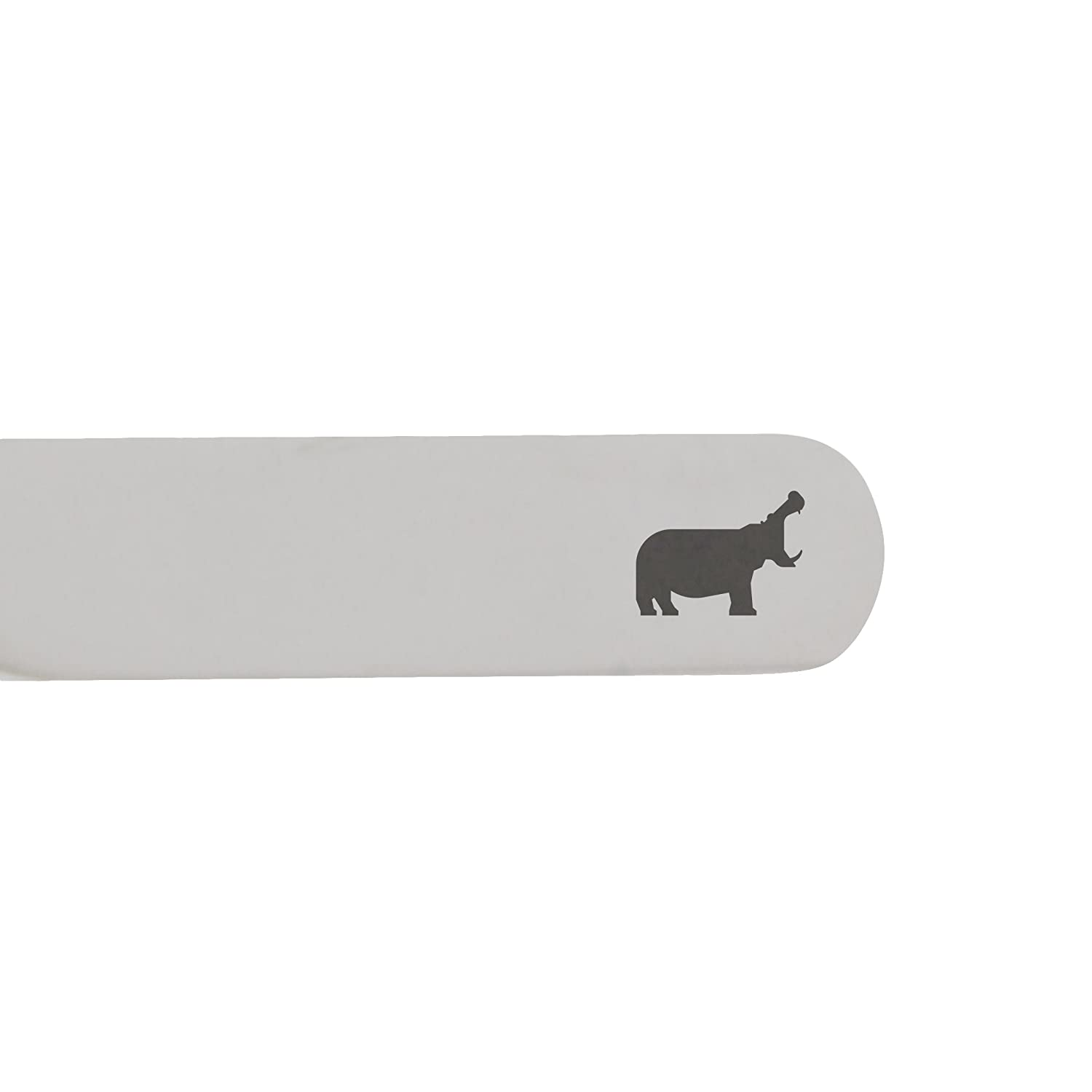2.5 Inch Metal Collar Stiffeners MODERN GOODS SHOP Stainless Steel Collar Stays With Laser Engraved Hippo Design Made In USA