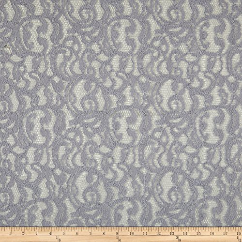 Fabric Mart - Fabric Mart Scrolls Corded Lace Gray Yard