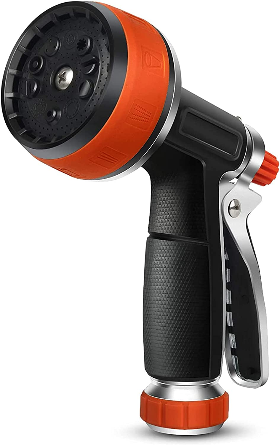 Garden Hose Nozzle - Water Hose Spray Nozzle, Aluminum Alloy + Rubber, 10 Sprayers Patterns for Watering Plants, Lawn & Garden, Washing Cars, Showering Pets & Outdoor Fun (Orange)