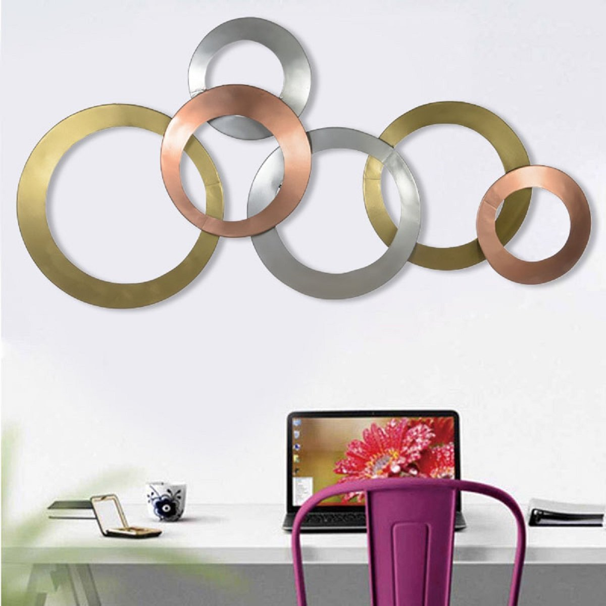 Buy Collectible India Metal Multicolor Ring Wall Hanging Art Decorative Sculpture Modern Arts Living Room Bedroom Office Decor Size 37 X 20 Inches Online At Low Prices In India Amazon In