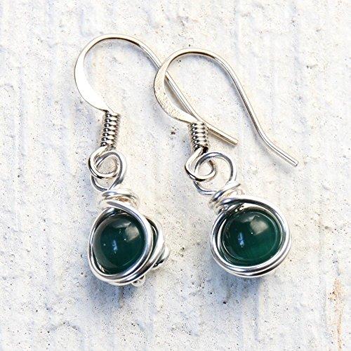 Dark Green Casual Wear Dangle Earrings - Handmade Wire Wrapped Jewelry