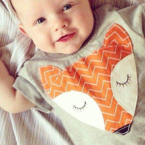 Baby Boys Girls Short Sleeve Cute Cartoon Fox Romper