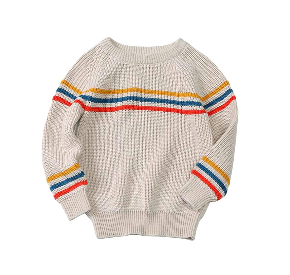 Cromoncent Boys Girls Cute Cotton Pullover Striped Knit Sweaters