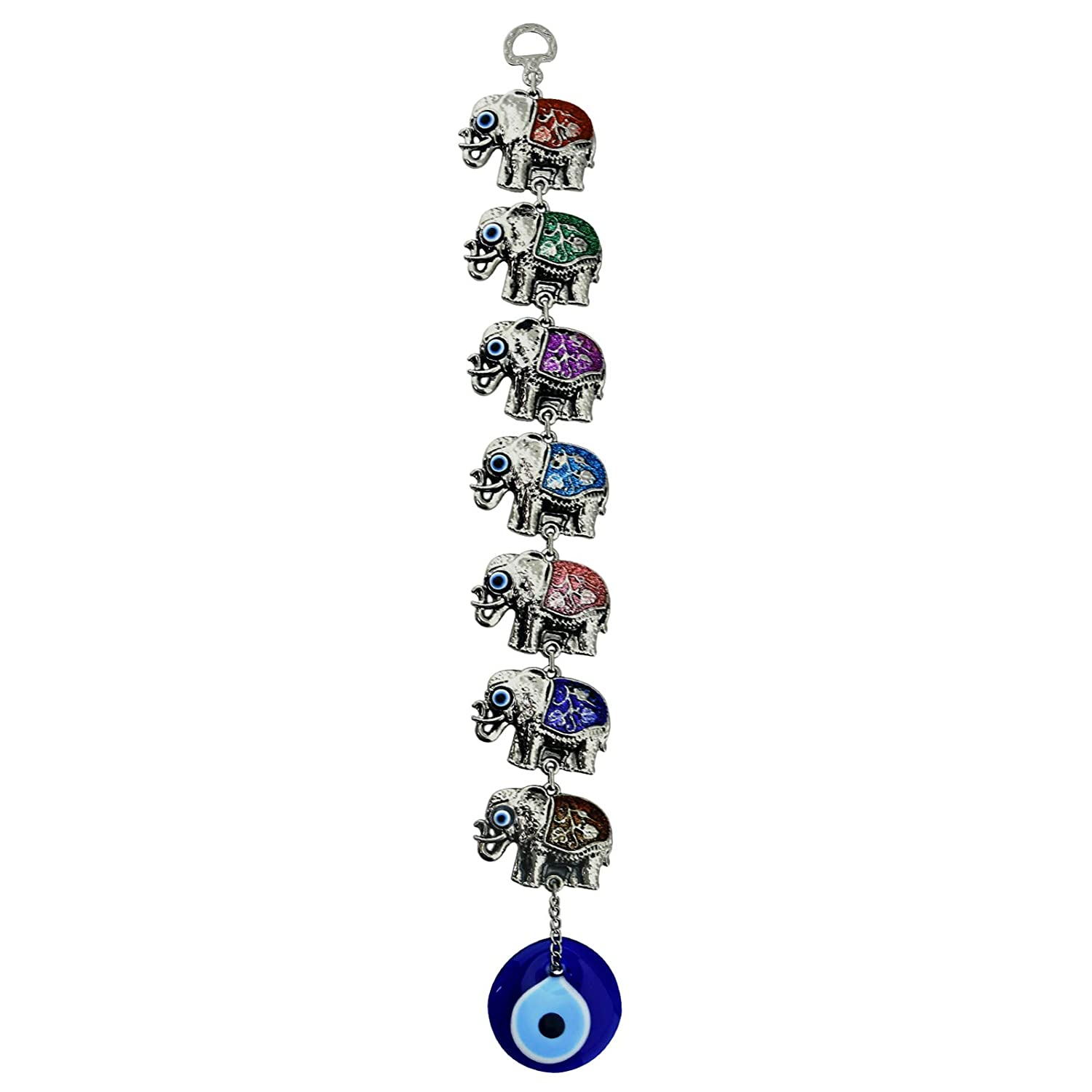 Bead Global Rainbow Seven Elephants Glass Turkish Evil Eye Home Protection Charm- Seven Elephants Hanging Ornaments Wall Decor (Colourful)