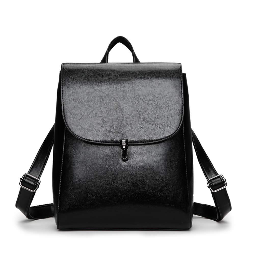 Women Classy Backpack Shoulder Bag Handbag for School & Daily Commute, PU Leather, Simple/Stylish Bag, Black