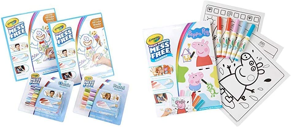 Crayola Color Wonder Mess Free Coloring Kit, 80Piece, Toddler Toys, Stocking Stuffers, Gift & Color Wonder Peppa Pig Coloring Book Pages & Markers, Mess Free Coloring, Gift for Kids