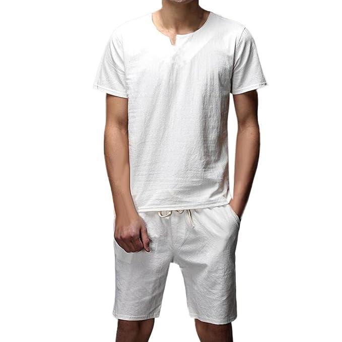Resplend Camisa de Manga Corta de Dos Piezas Slim para Hombre, con Blusa Superior,