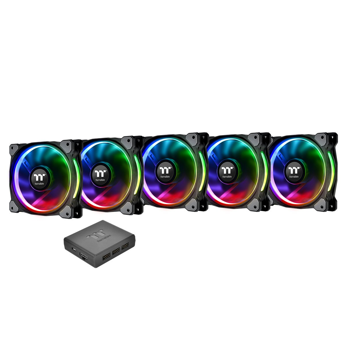 Thermaltake CL-F054-PL12SW-A Riing Plus 12 LED RGB Radiator Fan - Black (Pack of 5)