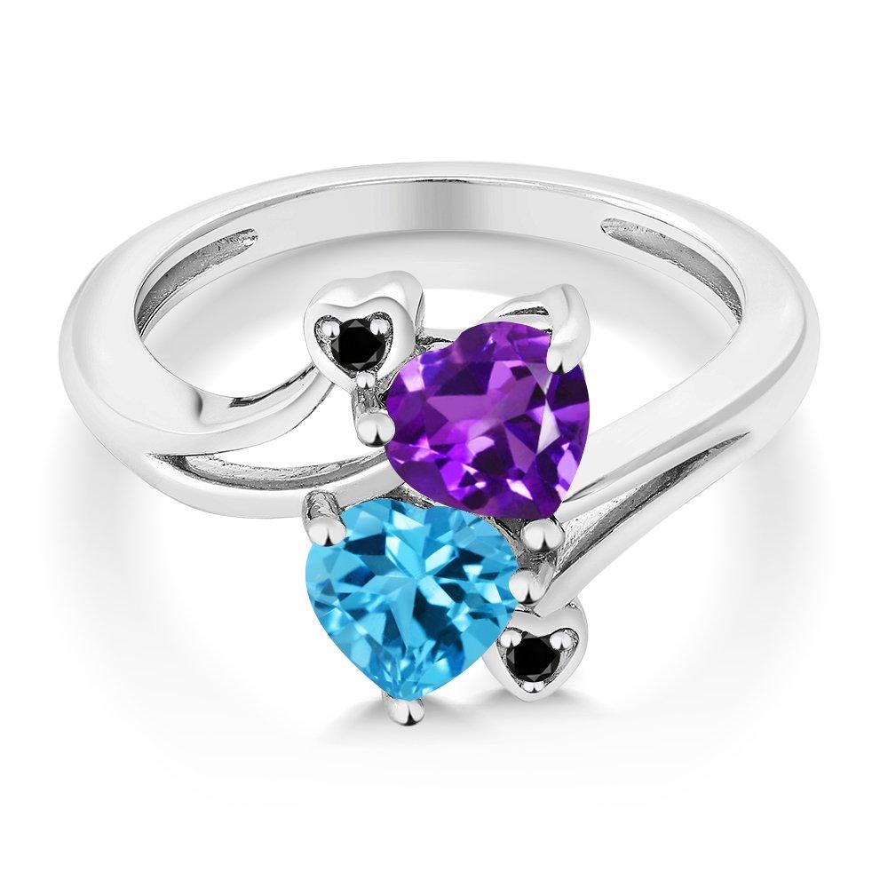 Gem Stone King 1.63 Ct Heart Shape Purple Amethyst Swiss Blue Topaz 925 Sterling Silver Ring Available 5,6,7,8,9