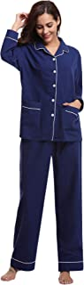 Abollria Damen Pyjama Set Baumwolle Nachtwäsche Zweiteiliger Langarm Schlafanzug Frauen Schlafoveralls Freizeitanzug Tops Hosen Set Kontrastpaspel Knopfleiste PJ Set