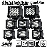 offroad quad - LED Pods Light,4Inch 8PCS LED Light Pods Spot Beam Work Light Bar LED Flood Light Pods Quad Row Cube Driving Fog Lights for Jeep Off-road Truck Boat
