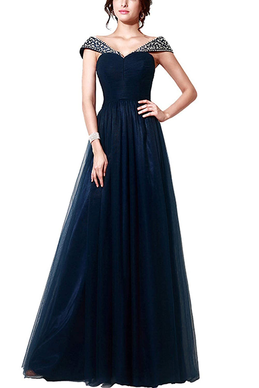 bluee Women's Rhinestones Sleeveless VNeck Maxi Dress Elegance Plus Size Wedding Evening Party Dress Special Occasion Dress bluee