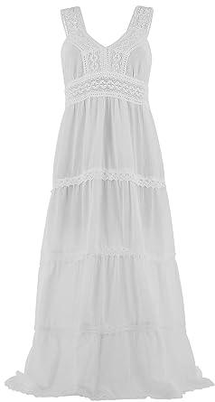 Robe longue blanche dentelle coton
