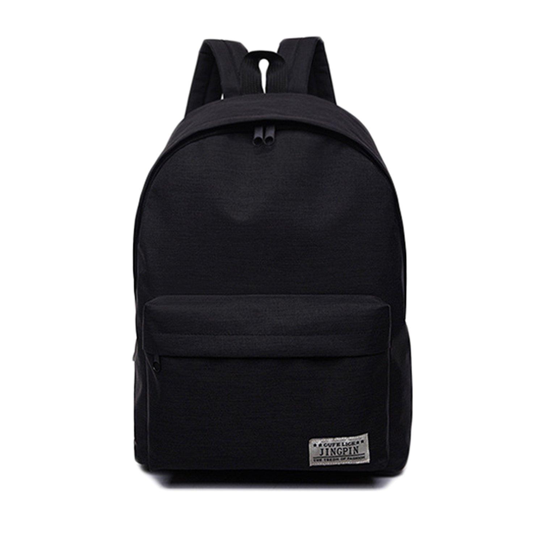 Casual Laptop Backpack Classic Bookbag Rucksack Lightweight School Bag for Women Mens (Black)