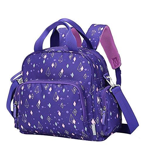 Mummy bolsa multifuncional de gran capacidad multi-compartimento impermeable impermeable pulsera bolsa de bebé bolsa ( Color : Khaki ) Purple