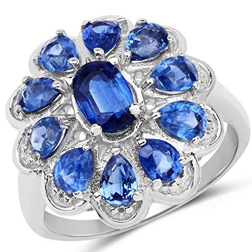 Bonyak Jewelry Genuine Oval Kyanite Ring in Sterling Silver - Size 6.00