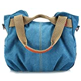 Canvas Tote Bags Large Women Shoulder Bags (blue)
