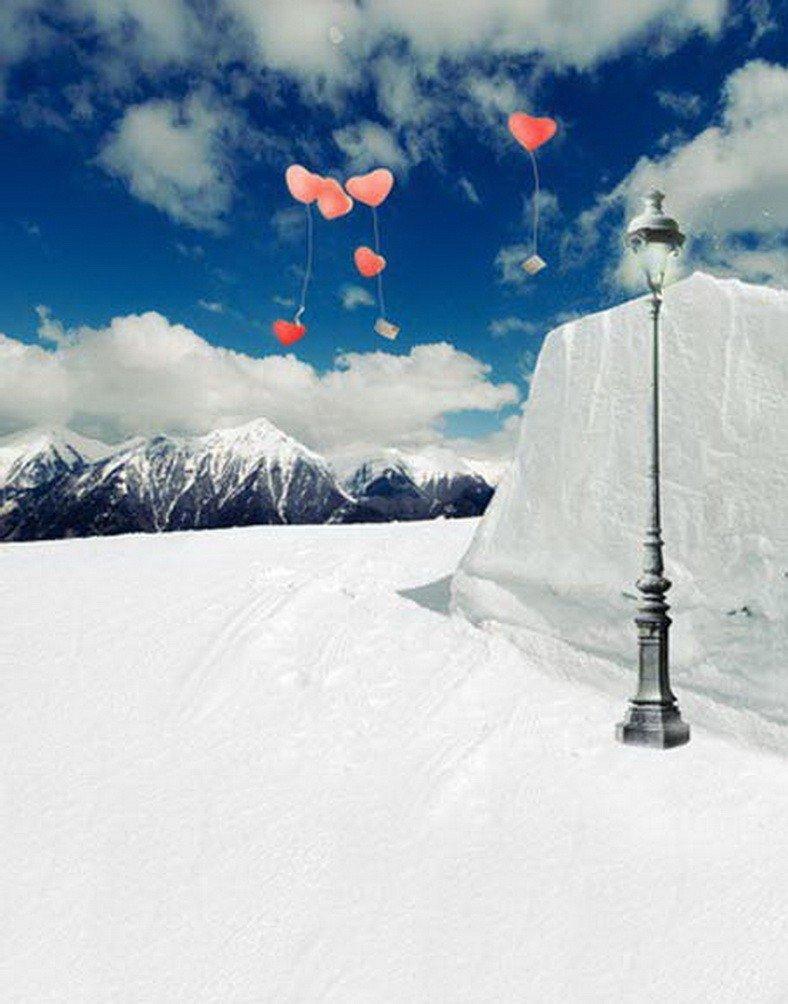 A Monamour冬シーズンホワイト雪フィールドブルースカイと白雲景色印刷写真の背景幕   B01M7ZQ58R