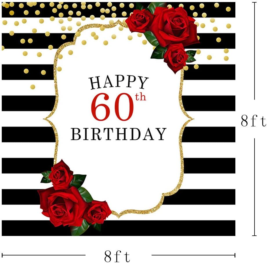 COMOPHOTO Sixty and Fabulous Backdrop Flower Black White Stripes 60th Birthday Photography Background 7x5ft Women Women 60th Birthday Party Banner Decoration Backdrops