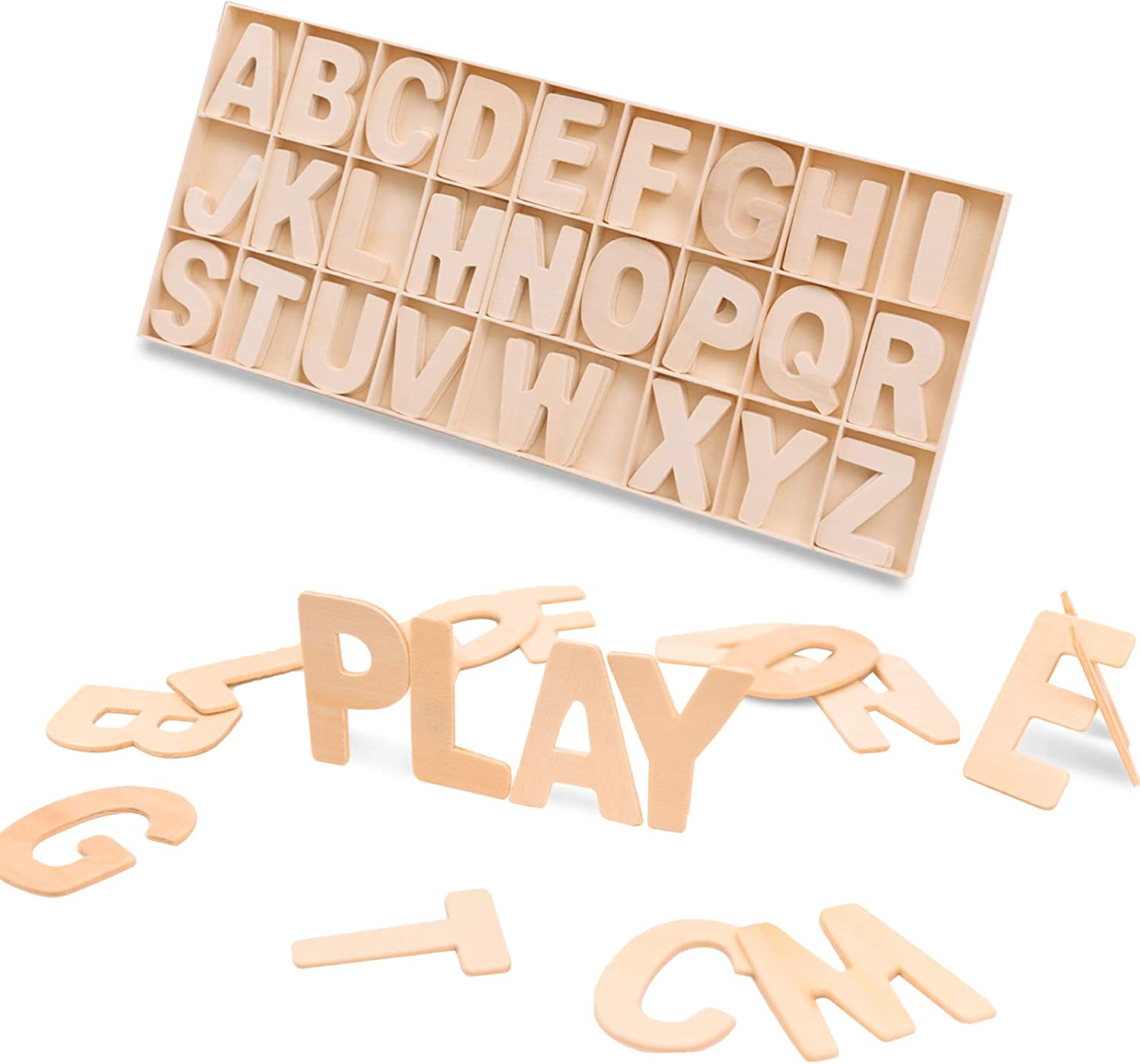 2 Inch Wooden Letters, 104 Pcs Unfinished Wood Craft Letters Blank Wooden Alphabet Letters for Home Decor, DIY Crafts, Painting, Signs, Party Decorations, with Storage Tray