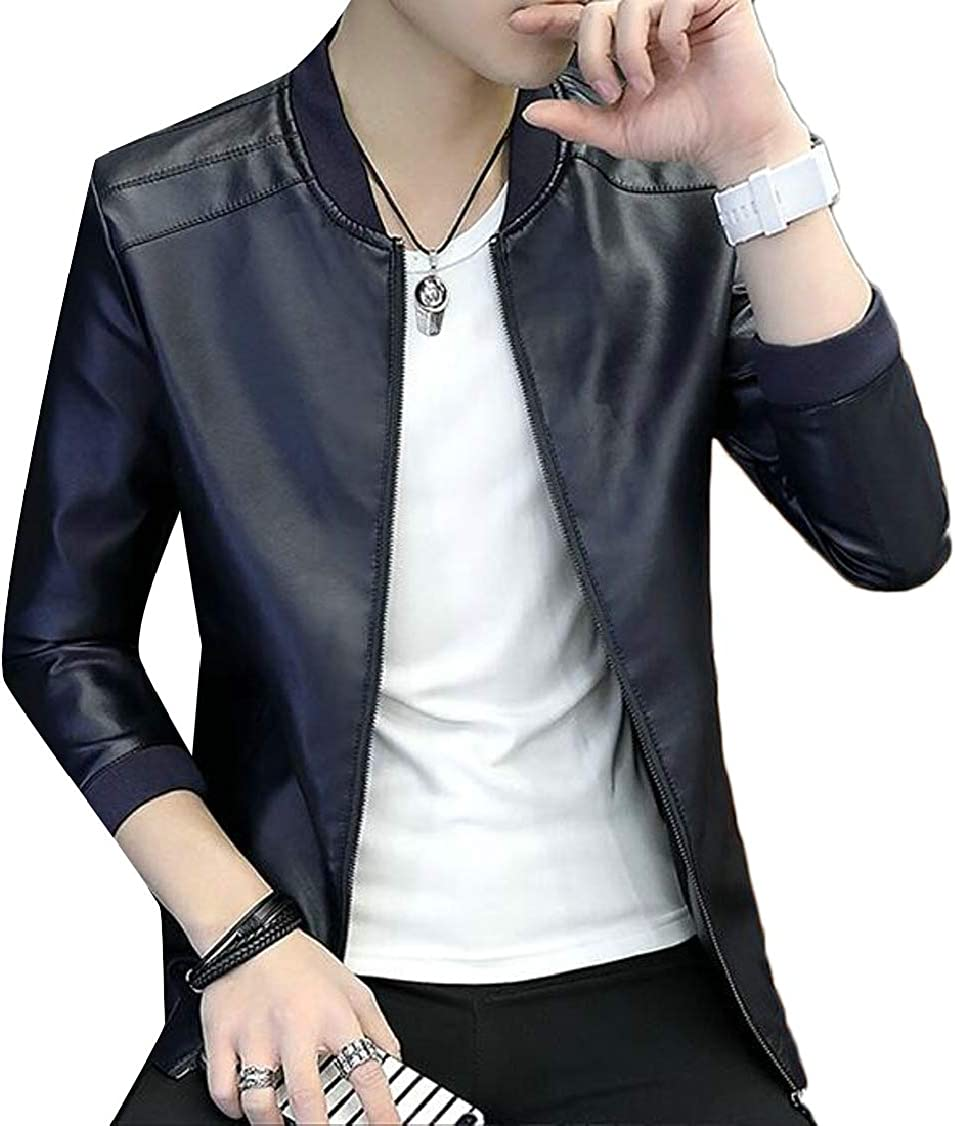 XQS Mens Autumn Faux Leather Solid Fleece Slim Bomber Jacket