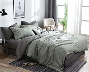 Jameswish 3pcs Green Gray Duvet Cover Set Full Queen Size Dusty Green Charcoal Grey Reversible Bedding Sets Modern Farmhouse Solid Colored Microfiber Chambray Comforter Quilt Cover for Men Women