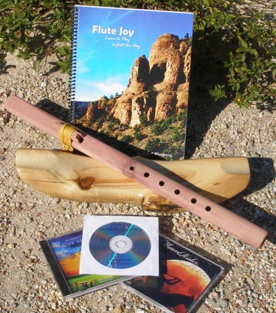 G- 6 hole Unfinished Cedar Windpony Native American Style Flute with book and 3 CDs Starter Set - Books and CDs
