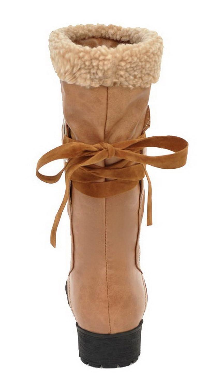 AgeeMi Shoes Femme Femme Shoes Tire PU Cuir Couleur Unie à Talon Bas Haut Demi Rond BottesB078KBLLC5Parent 7015ca