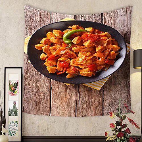 Price comparison product image Grace Little Custom tapestry popular indian curry chicken jalfrezi chicken stir fried with spices with a tomato sauce and red