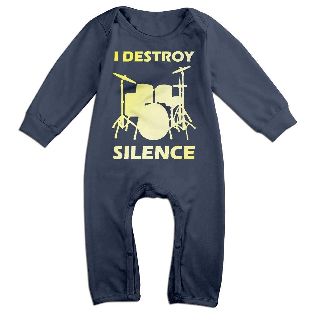 Mri-le1 Baby Girls Jumpsuit I Destroy Silence Drums 1 Toddler Jumpsuit
