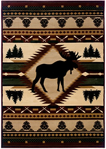 (PlanetRugs Inc United Weavers Designer Contours John Q. Moose Wilderness Toffee Oversize Colorful Luxury Rug for Bedroom, Living Room, Dining Room 7'10'' x 10'6'')