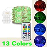 50 rice lights - @HAHOME Fairy String Lights,17Ft 50 LEDs Battery Operated Starry Lights with Automatic Timer,Indoor and Outdoor Portable Lights for Holiday and Party Decoration,RGB