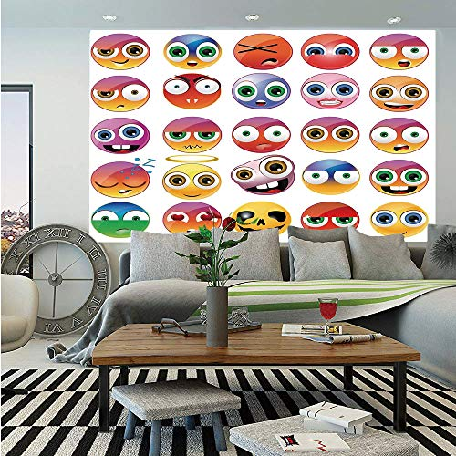 Emoji Removable Wall Mural,Rainbow Colored Cartoon Like Smiley Face Expressions Sad Happy Angry Fierce Art Print,Self-Adhesive Large Wallpaper for Home Decor 66x96 inches,Multicolor